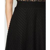 Petite Black Textured Chiffon Circle Cut Skirt New Look