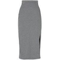 Tall Black Dogtooth Side Split Midi Pencil Skirt New Look