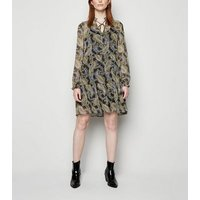 Tall Black Paisley Chiffon Smock Dress New Look