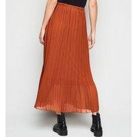 Tall Rust Chiffon Pleated Midi Skirt New Look