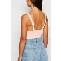 Petite Pale Pink Ribbed Bustier Bodysuit New Look