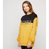 Girls Yellow Colour Block Slogan Sweatshirt New Look