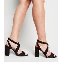 Wide Fit Black Suedette Cross Strap Block Heels New Look