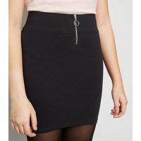 Girls Black Ring Zip Tube Skirt New Look