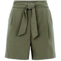 Khaki Belted High Waist Shorts New Look