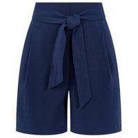 Navy Belted High Waist Shorts New Look