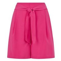 Bright Pink Belted High Waist Shorts New Look