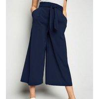 Navy Tie High Waist Crop Trousers New Look