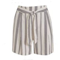 Off White Stripe Belted Shorts New Look