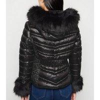 Cameo Rose Black Faux Fur Trim Puffer Jacket New Look