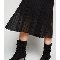 Maternity Black Chiffon Pleated Midi Skirt New Look