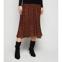 Maternity Rust Chiffon Leopard Print Pleated Midi Skirt New Look