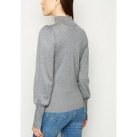 Dark Grey Puff Sleeve Cuffed Knit Jumper New Look