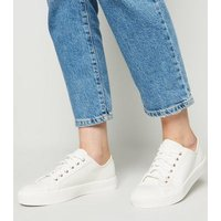White Canvas Stud Back Lace Up Trainers New Look