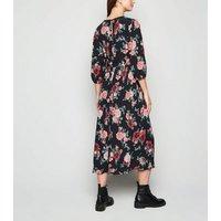 Maternity Black Floral Puff Sleeve Midi Dress New Look