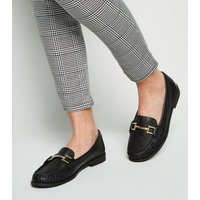Black Leather Bar Front Loafers New Look