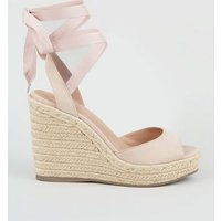 Pale Pink Suedette Ankle Tie Woven Espadrille Wedges New Look Vegan