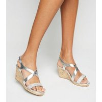 Wide Fit Silver Metallic Diamante Cross Strap Wedges New Look Vegan