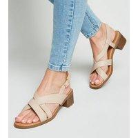 Wide Fit Cream Cross Strap Block Heel Sandals New Look Vegan