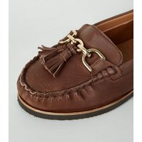 Wide Fit Rust Leather Tassel Loafers New Look