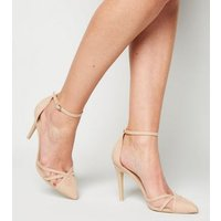 Pale Pink Suedette Strappy Mesh Stiletto Court Shoes New Look