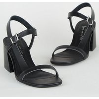 Black Leather-Look Flared Heel Footbed Sandals New Look