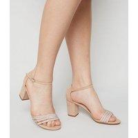 Girls Pale Pink Suedette Diamante Block Heel Sandals New Look