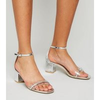 Girls Silver Patent Clear Strap Block Heel Sandals New Look