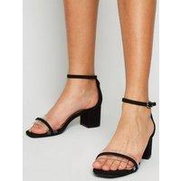Girls Black Suedette Clear Strap Block Heel Sandals New Look