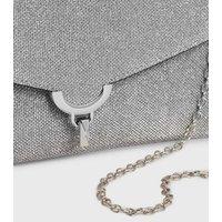 Silver Glitter Clutch Bag New Look