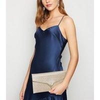 Gold Glitter Clutch Bag New Look Vegan