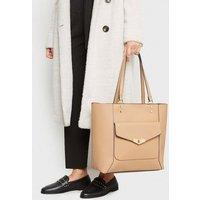 Camel Leather-Look Pocket Front Tote Bag New Look Vegan