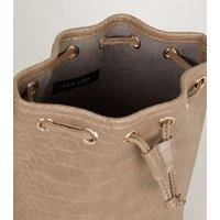 Mink Faux Croc Drawstring Bucket Bag New Look Vegan