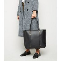 Black Leather-Look Thick Strap Tote Bag New Look Vegan
