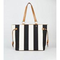 Black Stripe Canvas Tote Bag New Look Vegan