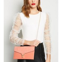 Coral Suedette and Leather-Look Clutch New Look Vegan