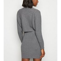 Cameo Rose Grey Knit 2-in-1 Mini Dress New Look