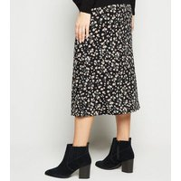 Maternity Black Daisy Jersey Midi Skirt New Look