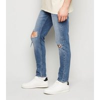 Blue Ripped Knee Skinny Stretch Jeans New Look