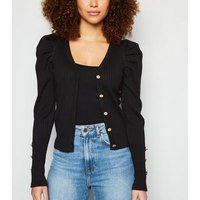 Black Ribbed Knit Puff Sleeve Cardigan New Look