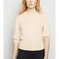 Cream Puff Sleeve Fine Knit Jumper New Look