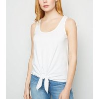 White Tie Front Cotton Vest New Look