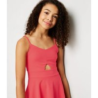 Girls Pink Cut Out Skater Dress New Look