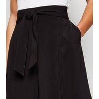 Petite Black Tie Waist Crop Trousers New Look