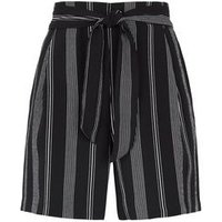Petite Black Stripe Tie High Waist Shorts New Look