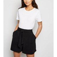 Petite Black Tie High Waist Shorts New Look