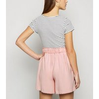 Petite Pale Pink Tie High Waist Shorts New Look