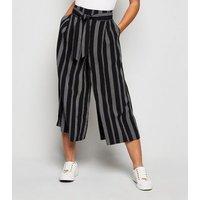 Petite Black Stripe Tie Waist Crop Trousers New Look