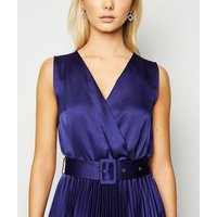 Blue Satin Belted Hanky Hem Pleated Midi Dress New Look
