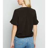 Black Frill Sleeve Tie Front Blouse New Look